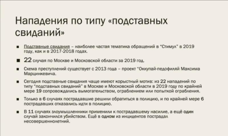 В 2019 году московские геи столкнулись как минимум с 22 подставными свиданиями