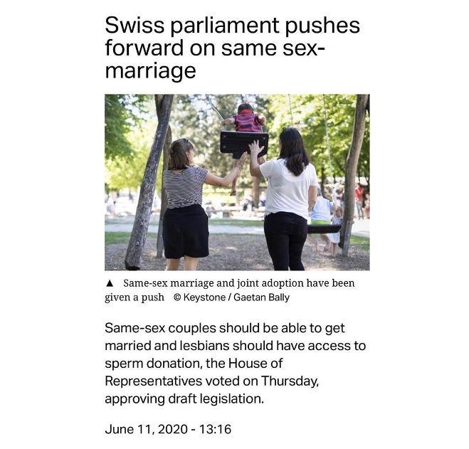 Швейцария готовится к легализации в стране однополых браков