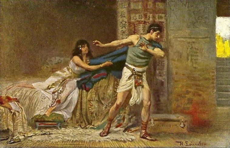 В библейских иллюстрациях изображений Онана (понятно) не найти, но подойдёт Иосиф в схожей ситуации. )